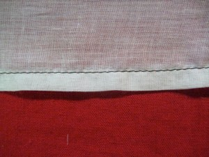 The turned hem, seen from the front.