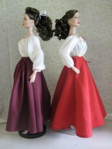 comparison, gored and circle skirts, side