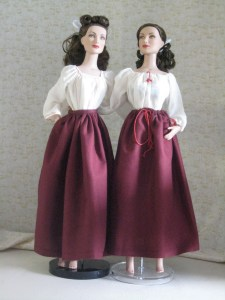 comparison of gored and drawstring skirts, front