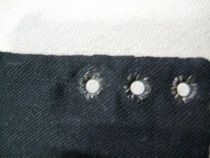 set eyelets, from back.
