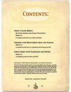 Contents page for the tyler wench pattern