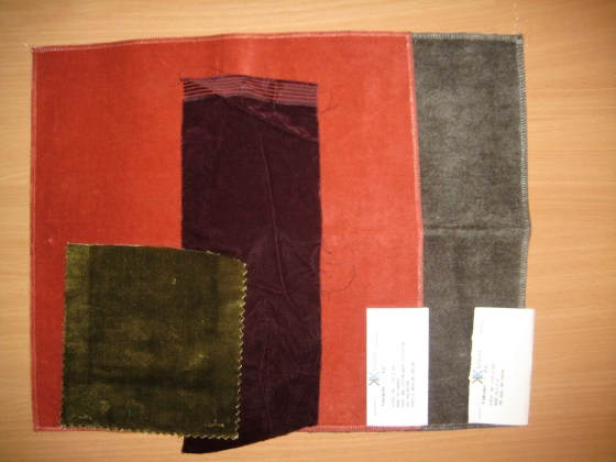 samples of four velvets of different fiber composition