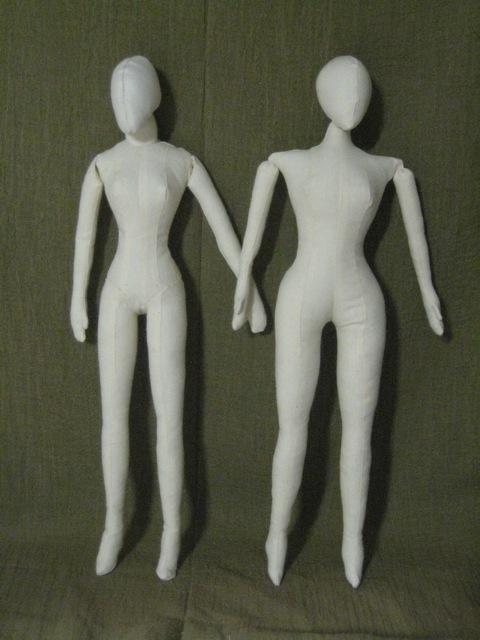 Cloth dolls, side by side