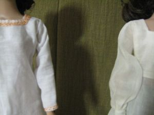 closeup of two smocks