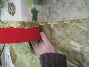 attaching fabric to side of hat