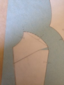 Move the tracing paper so that the upper princess line guide fits the top of the side front piece.