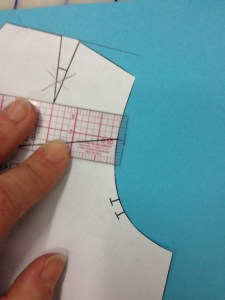 "At the Horizontal Balance Line of the shoulder, make a guide 1/8"" from the edge of the armscye."
