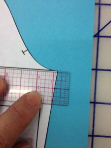 "The book directions tell you to extend the sleeve block straight out from the bicep line (underarm level).  We used 3/8""."