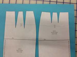 Do the same thing with both sides of the skirt,  This will be a cutting line, so put in notches around the middle.