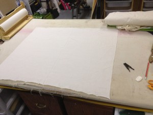 Before we go any further, prep a large, flat surface with a clean bit of muslin.  You're going to be transferring the information from your draft to this muslin.