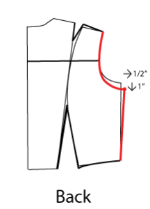 Redraw the botton of the armscye curve and the side line so that they meet this point.