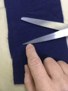 Where to stop cutting indicated on the scissors blade.