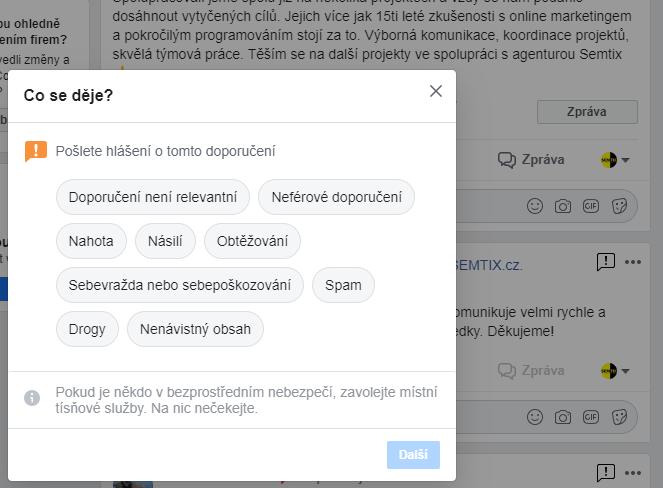 Nahlášení nevhodného obsahu na Facebooku