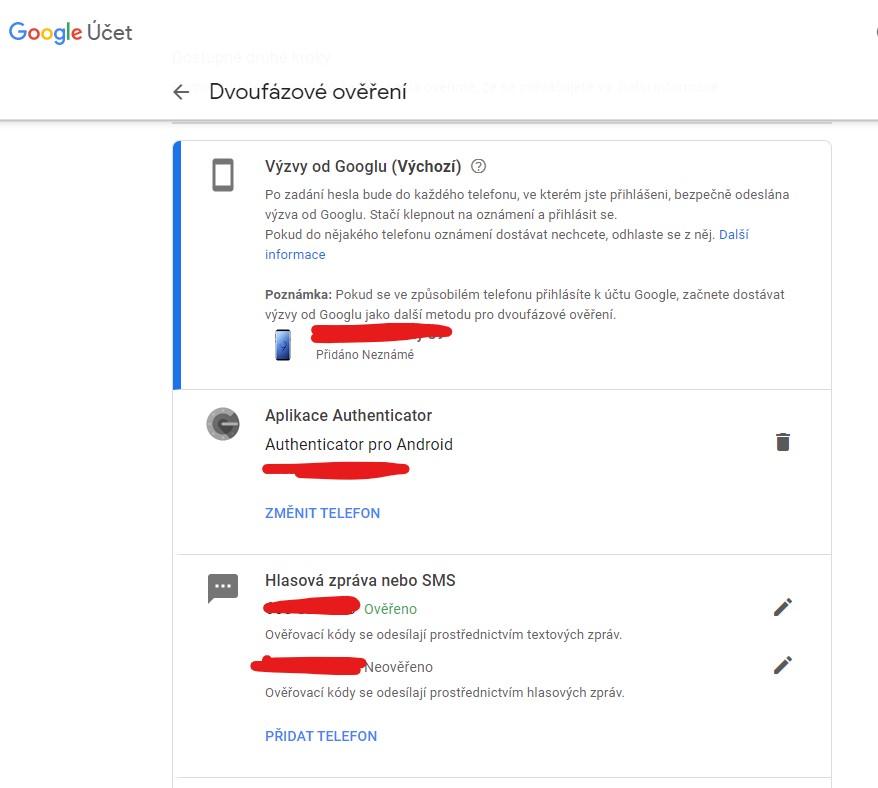 Dvoufázové ověření v účtu Google