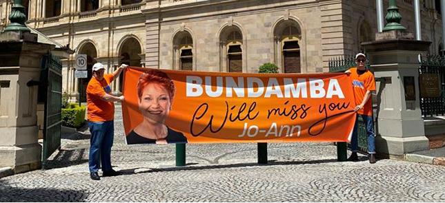 "Pauline Hanson praises retiring MP Jo-Ann Miller: ""Labor's last honourable Member of the Queensland Parliament"" - Senator Pauline Hanson"