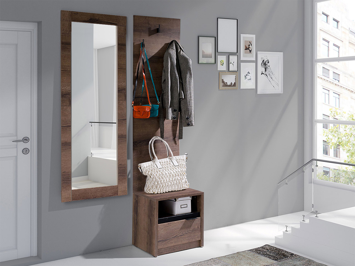 Homcom set 3 pezzi scarpiera appendiabiti specchio da ingresso camera da. Mobile Da Ingresso Lipsia Marrone Sender Casa