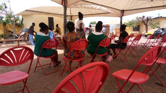 Observing social distancing in health facilities in Bono and Ahafo regions
