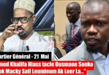 (Vidéo) Après sa sortie virulente sur la TFM ; Ousmane Sonko répond et démolit Ahmed Khalifa Niasse »lou meusseu nék complot ci adouna bi mom bokk na ci »