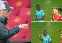 Liverpool : Sadio Mané refuse de serrer la main de Klopp à la fin du match contre Man United (Vidéo)
