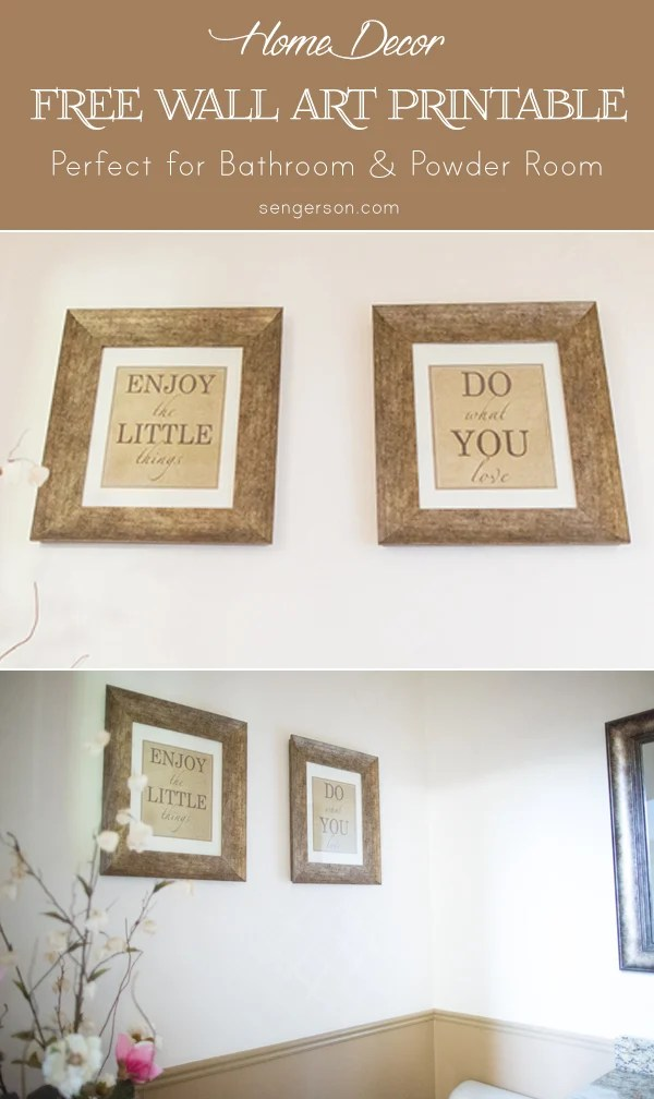 free printable wall art for bathroom or powder room