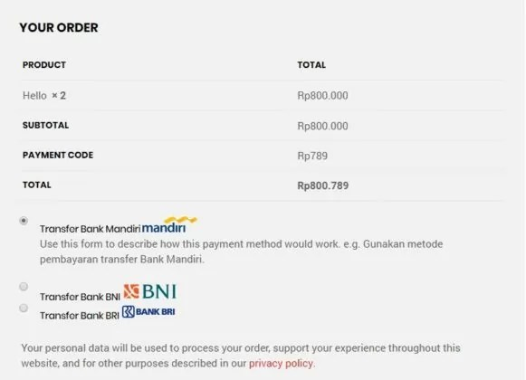 Indonesian Banks Plugin WooCommerce untuk Toko Online Indonesia - payment code checkout