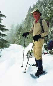 Harry Schwartz, along with members of the Alberni Valley Outdoor Club, took a snowshoe trip through Teodoro Trail near Sproat Lake in January 2017. [Laurie Morphet photo]