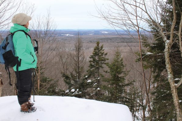 Kate at lookout at Mont Megantic