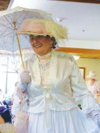 Elaine, dressed in costume, at a Heritage Productions event in Victoria.