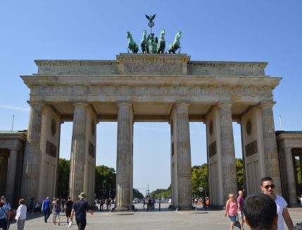 Historic Brandenburg Gate in Berlin is a popular tourist attraction.