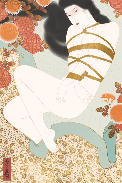 shunga, kinbaku, shibari, erotic art, arotic, erotica, japanese bondage, rope play , kick, chrysanthemum,ukiyo-e, nude art, nude painting, senju shunga,
