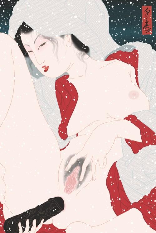 kabuki, sagi musume, heron maiden, heron girl, sayagatta, dildo, shunga, erotica, porn, pornography, female masturbation, pussy, kimono, anal