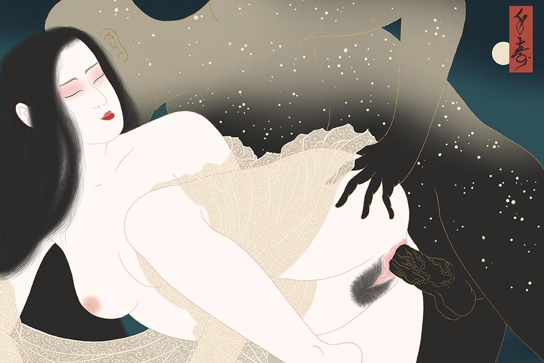 Erotic Shunga print by Senju