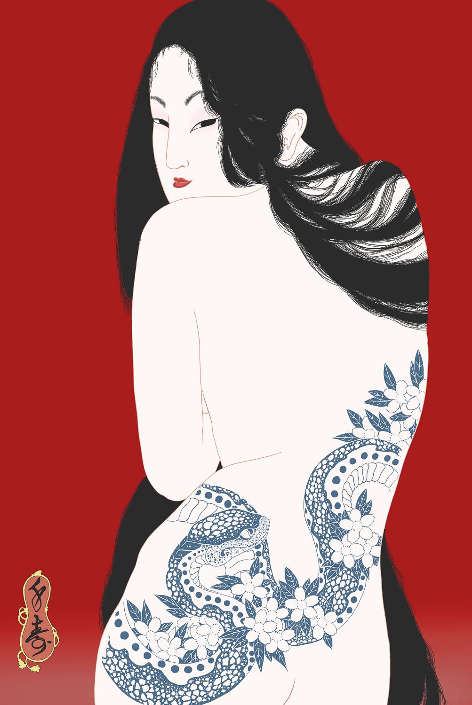 """""""Kiyohime"""" Shunga print"""
