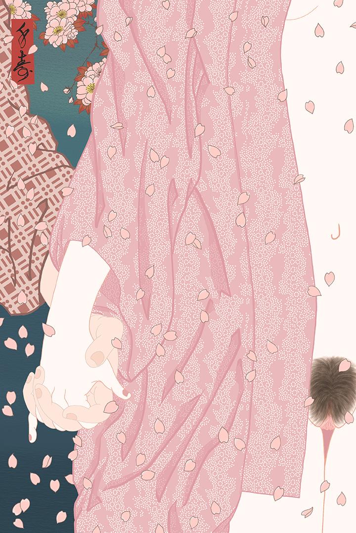 """Sakuragari"" Shunga print"