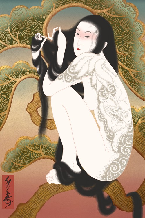 kitsune, fox, irezumi, japanese tattoo, japansk tatuering, matsy, pine tree, erotic, shunga, sensual, arotic art, sensual art, senju, umeå, porn, pornography