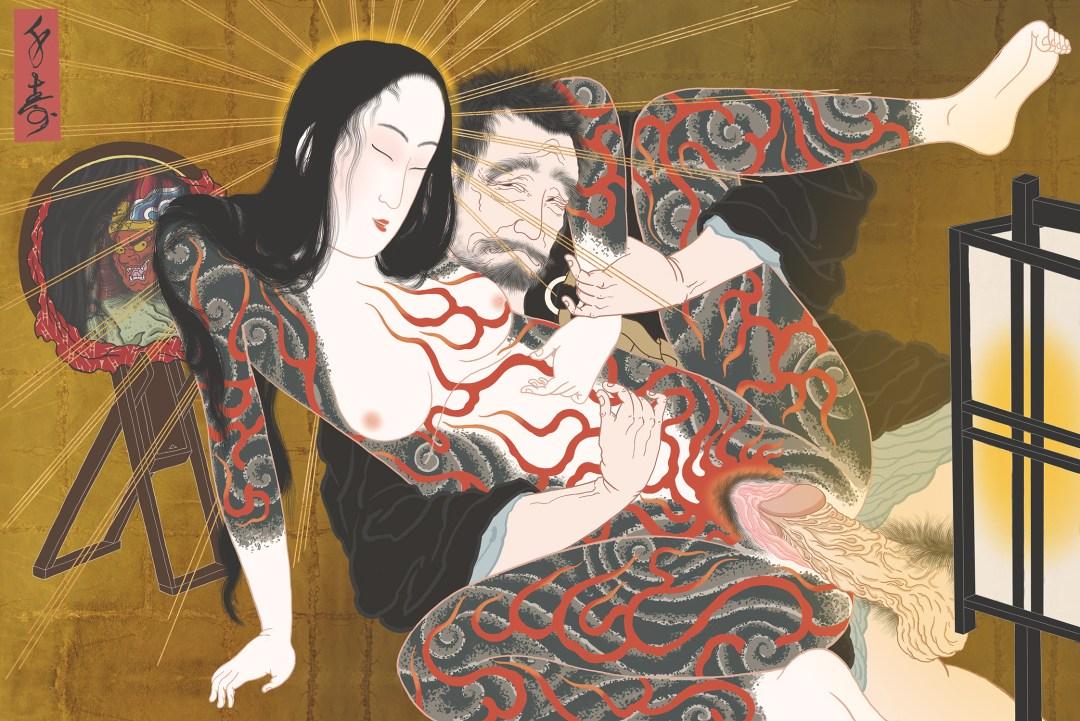"""""""Jigokudayu"""" shunga print"""
