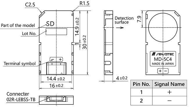 Model MD-5C4SD 2-wire Thin Proximity Sensor for Detecting