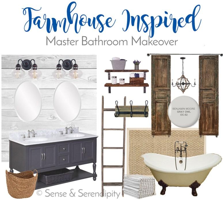 Sense & Serendipity   Farmhouse Inspired Master Bath Makeover, master bathroom, DIY, bathroom makeover, farmhouse decor, farmhouse style