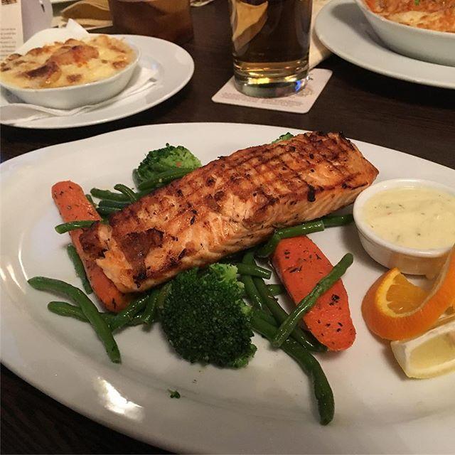 Roasted Salmon, lemon cream sauce and Cretan potatoes  #Greek <a rel=