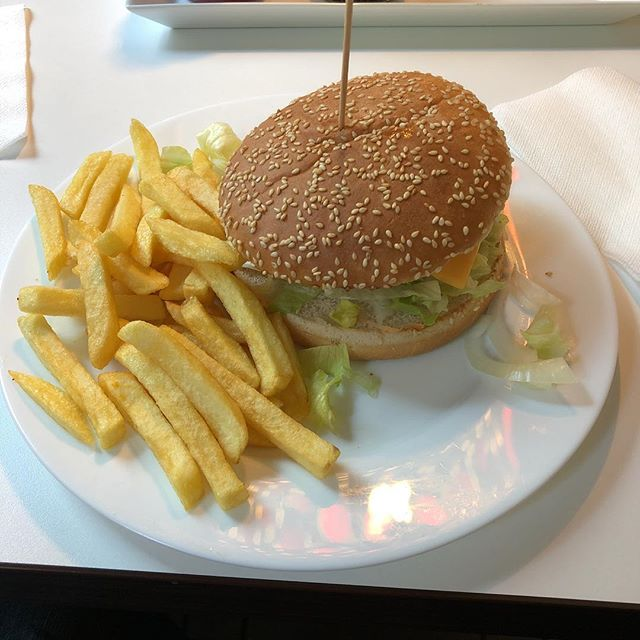 Cheeseburger  and fries <a rel=