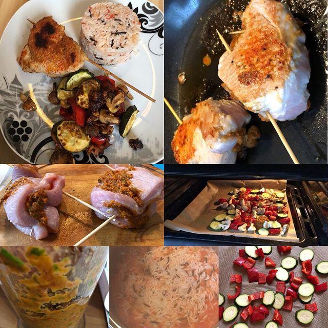 Gefüllte Putenbrustroulade mit Tomatenreise und Ofengemüse <a rel=