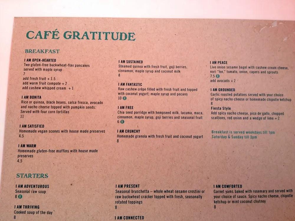 cafe gratitude meny