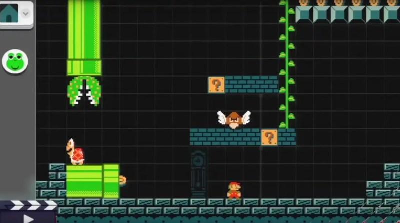 """Det går att välja tema till sina nivåer också, förutom att välja vilket spel de ska baseras på. Här är det """"underground""""-temat som syns, men man kan även välja t.ex. klassisk overworld, slottstema och höga höjder-tema. Allt finns inte med däremot, t.ex. saknas ökentema och isvärldstema. Kanske som DLC, Nintendo?"""