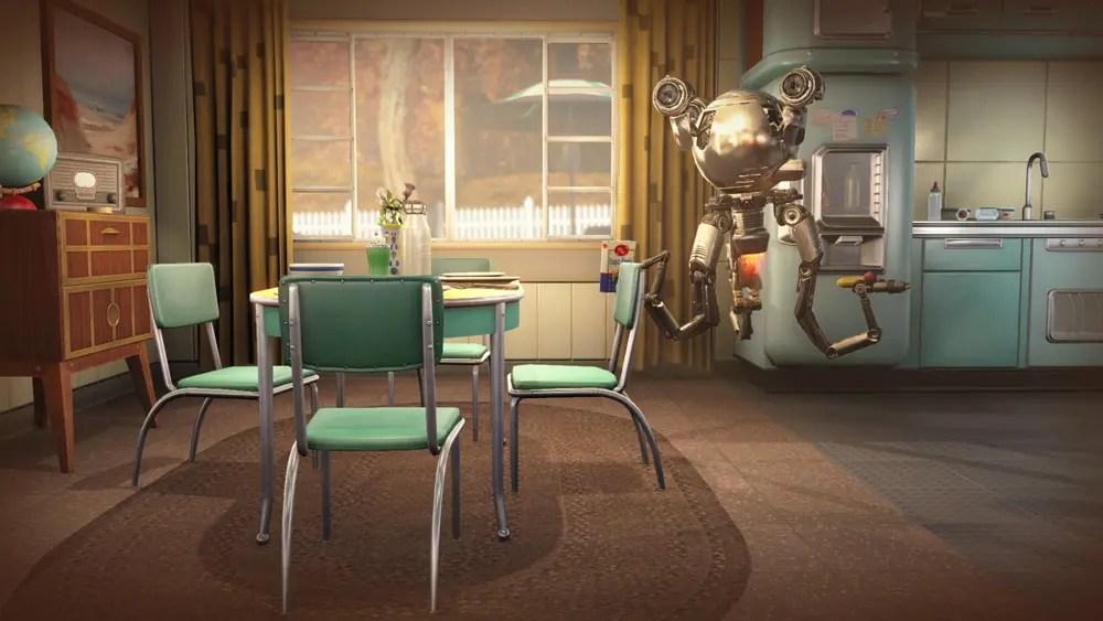 En av dina valbara sidekicks i spelet - roboten Codsworth.