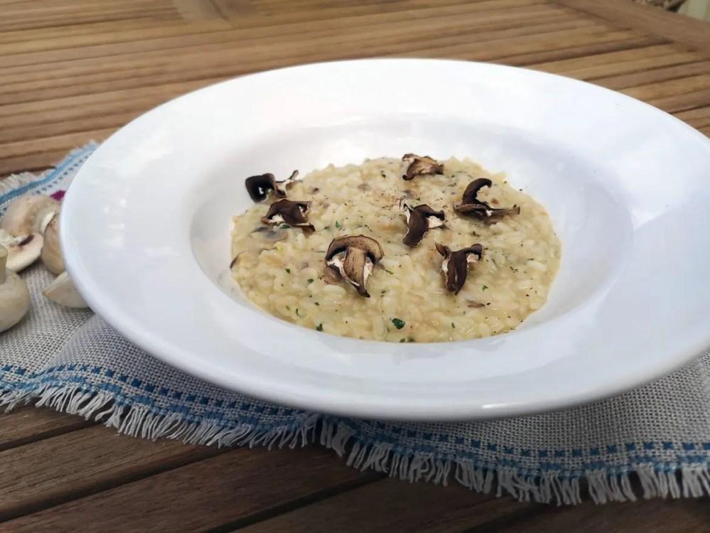 risotto är gott, här med champinjoner