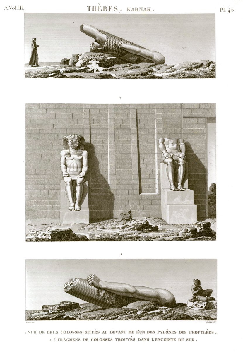 Pl. 45 - 1.3. Colossal fragmens found in the southern precinct 2. View of two colossi located in front of one of the propylaea pylons