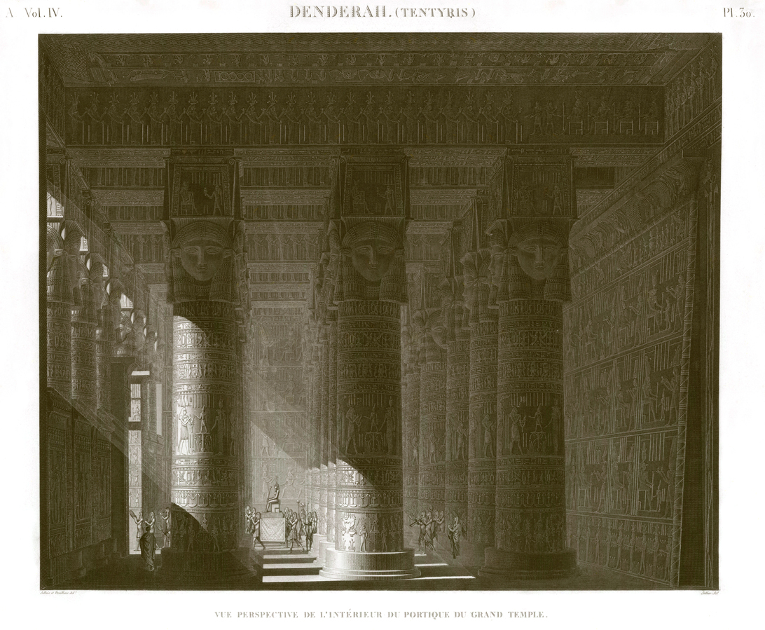 Dendera Perspective view of the interior of the portico of the Great Temple