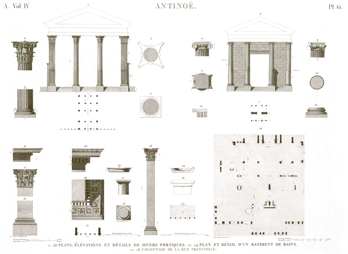 Pl. 61 - 1-20. Plans, elevations and details of various gantries 21-24. Plan and detail of a bath building 25-28. Colonnade on the main street