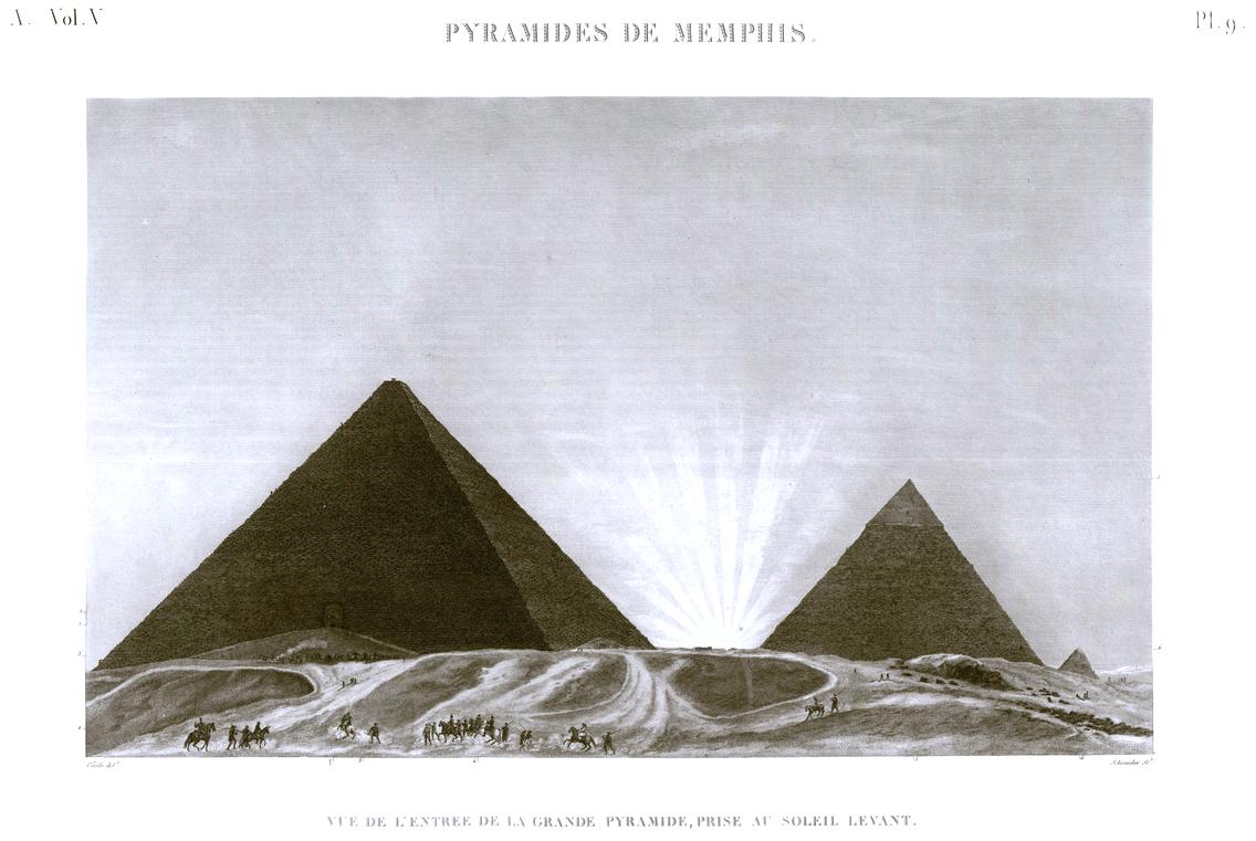 Giza Pyramid Description de l'Egypte Egypt View of the entrance to the Great Pyramid, taken in the rising sun
