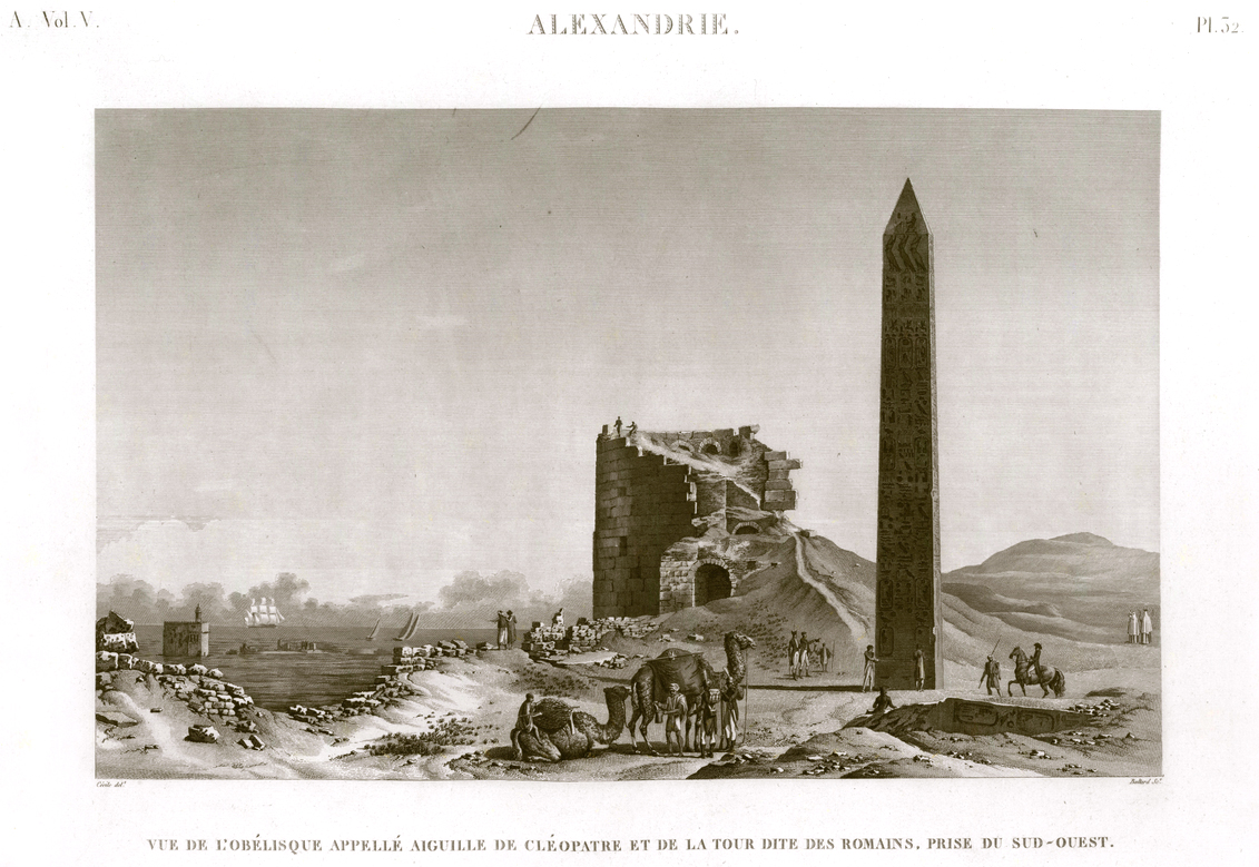 Pl. 32 - View of the obelisk called Cleopatra's Needle and the tower called Roman tower, taken from the southwest
